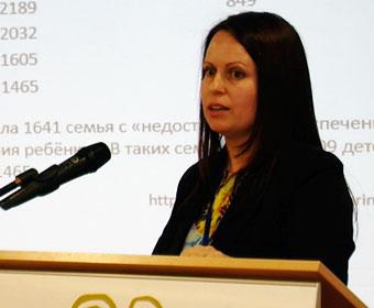 Jeļena Korņetova ar ziņojumu «Ģimenes un bērnības drošība»