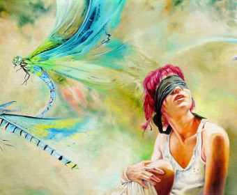 Woman and dragonfly