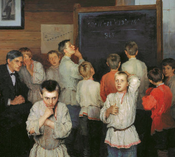 Mental Сalculation. Folk School of S. A. Rachinsky. Nikolay Bogdanov-Belsky. 1895.